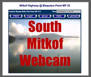 Click to see the Road Weather Information webcam from South Mitkof Highway at mile 33, Blaquiere Point